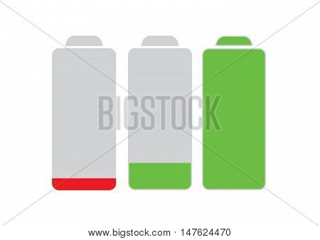 Mobile phone battery icons 3 level isolated on white background.