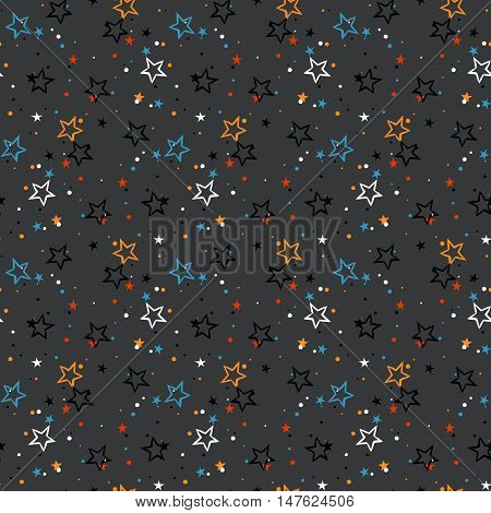 Vector seamless pattern with colorful stars, starburst and dots on grey background. Ditsy print with twinkle lights. Concept of birthday celebration and holiday spirit. Kids cute textile, boys fashion