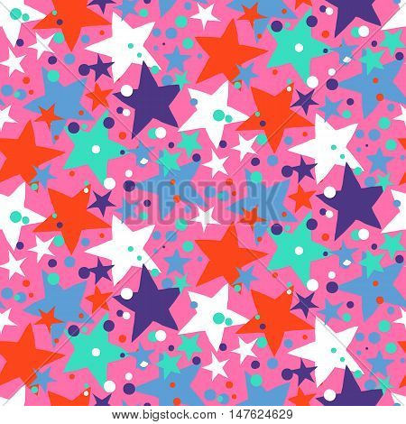 Vector seamless pattern with bright colorful stars and dots on pink background. Fun ditsy print with night sky, constellations and twinkle lights. Concept of astrology and birthday and holiday spirit
