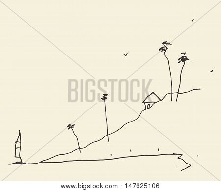 Simple sketch of an abstract seaside view and beach vector illustration sketch.