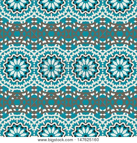 Vector tribal colorful bohemian pattern with big abstract colorful flowers. Geometric boho chic background with Arabic, Turkish, Moroccan, Aztec ethnic motif. Bold tribal print for fall winter fashion
