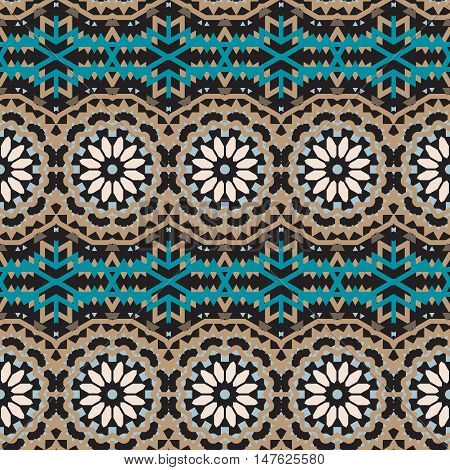 Vector tribal colorful bohemian pattern with big abstract colorful flowers. Geometric boho chic background with Arabic, Indian, Moroccan, Aztec ethnic motifs. Bold tribal print for fall winter fashion