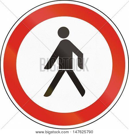 Hungarian Regulatory Road Sign - No Pedestrians