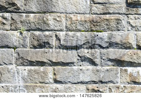 Granite bricks used in bridge pier construction