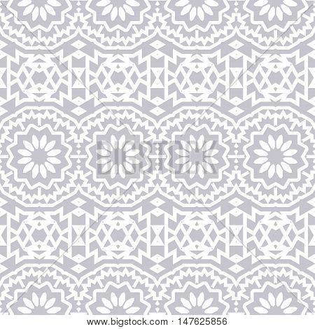Vector seamless bohemian pattern with abstract big tribal flowers and stripes. Vintage style bohemian background with flourish tribal decor. Bold ethnic print with floral circles and geometric motif