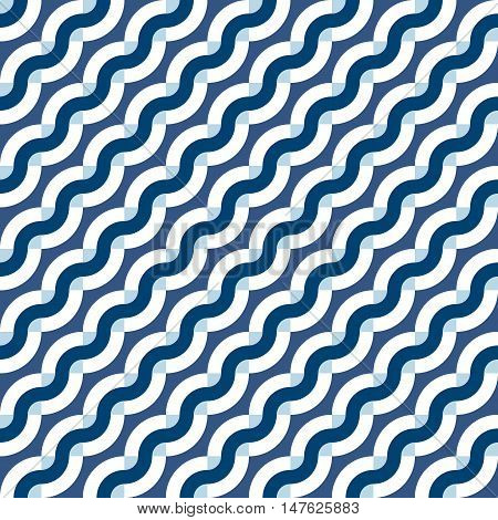 Vector geometric seamless pattern with diagonal waves, lines and stripes in nautical color. Striped modern bold print in nautical style for spring summer fashion. Abstract waving sea background