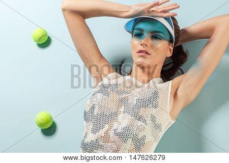 Close Up Portrait Of Young Brunette Female Model