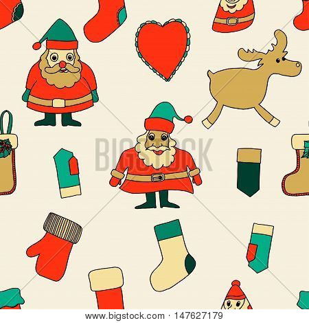 Merry Christmas. Seamless pattern. Abstract background. Holiday ornament. Season decoration. New year template. Festive texture. Winter decorate. Santa Claus, reindeer, toy, Xmas tree, greeting