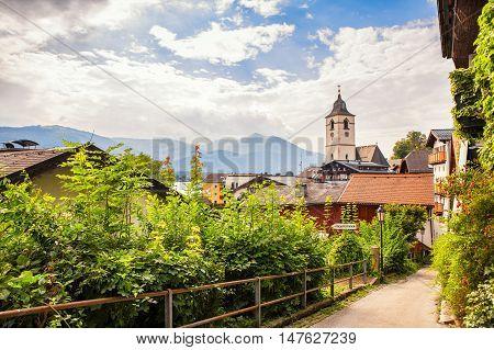 View of Sankt Wolfgang town in summer upper Austria