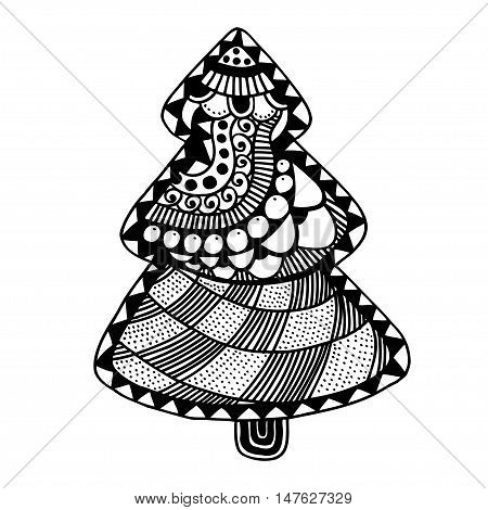 Happy new year and merry christmas card. Christmas tree in zentangle style for adult anti stress. Coloring page isolated on white background..