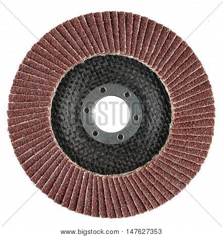 Abrasive flat flap disc for angle grinder. Object is isolated on white background without shadows.