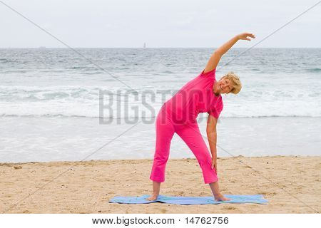 elderly woman doing fitness working out