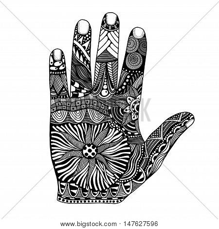 Monochrome Floral palm, hand drawn zentangle style for our design. Vector illustration, Isolated on white