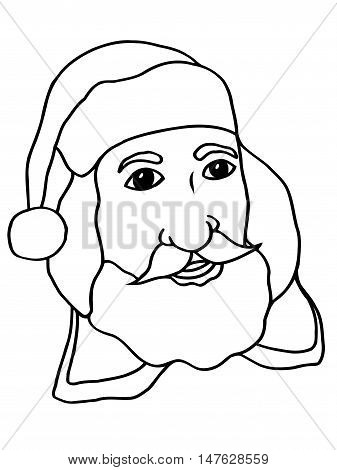 Monochrome freehand drawn cartoon tired santa claus face