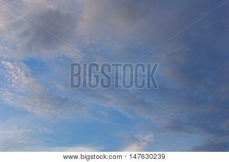 Cumulus clouds against a blue sky. Mostly Cloudy. Cyclone. Weather forecast.