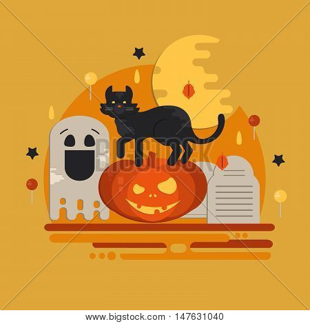 Halloween party concept in flat style. Vector composition with pumpkin head cat moon ghost candies and tombstone.