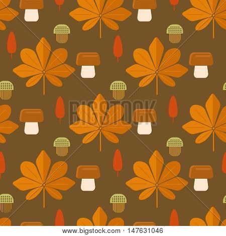 Autumn foliage concept seamless pattern. Fall theme background with leaves mushrooms and acorns in flat style. Flat vector illustration.