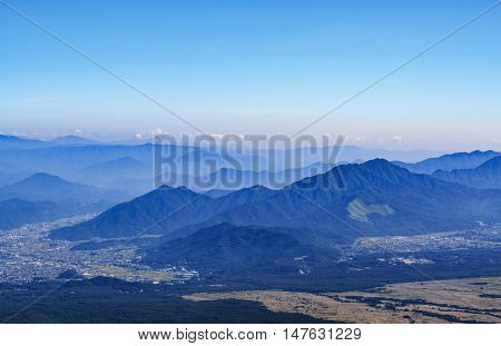 Mountains and village view from Fuji san