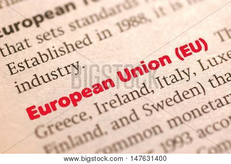 Dictionary definition of European Union Close up view soft focus