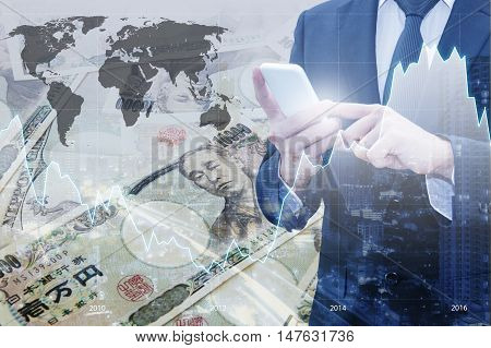 Double Exposure Of Businessman Using Smart Phone , Financial Graph And City Of Business With Japanes