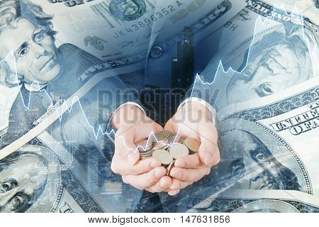Double Exposure Of Professional Investor Businessman Holding Coins And Usd Dollar Bank Note , Citysc