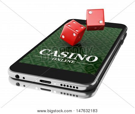 3d Illustration. Smartphone with dices. Online casino concept. Isolated white background.