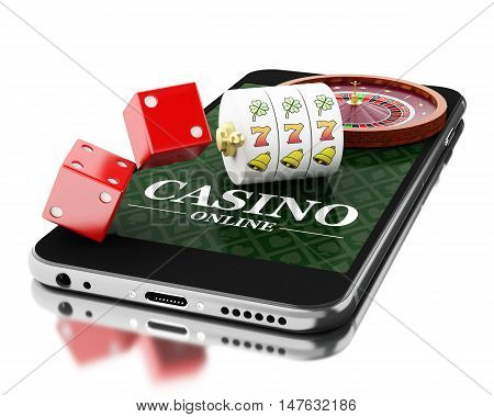 3d Illustration. Smartphone with roulette and dice. Online casino concept. Isolated white background.
