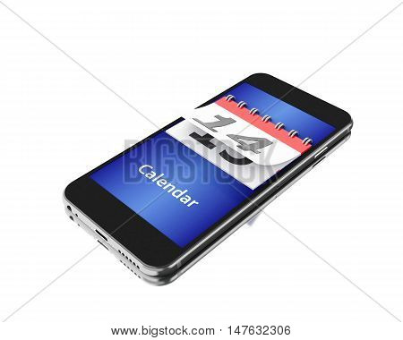 3d Illustration. Smartphone with a calendar and number fourteen. Isolated white background.