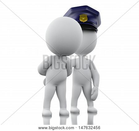 3d Illustration. Policeman arresting a thief. Isolated white background.