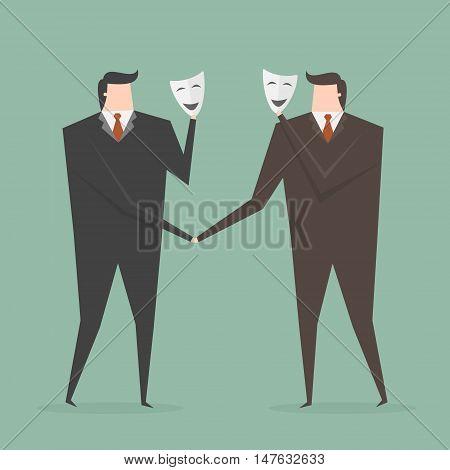 Businessman Shaking Hands With Partner Hiding Behind Mask. Business concept cartoon illustration.