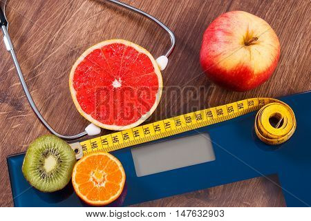 Electronic Bathroom Scale, Centimeter And Fresh Fruits With Stethoscope, Slimming And Healthy Lifest