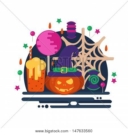 Halloween party concept in flat style. Vector composition with pumpkin head punch spider web witch hat candies and lollipop.