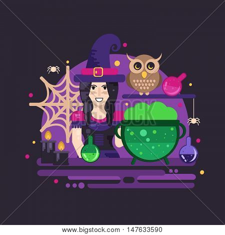Witches cauldron halloween composition. Halloween poster with witch owl cauldron magic potions candles and spider web.