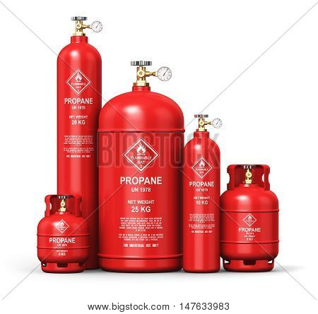 3D render illustration of the set of different red metal steel liquefied compressed natural propane gas LNG or LPG containers or cylinders with high pressure gauge meters and valves isolated on white background