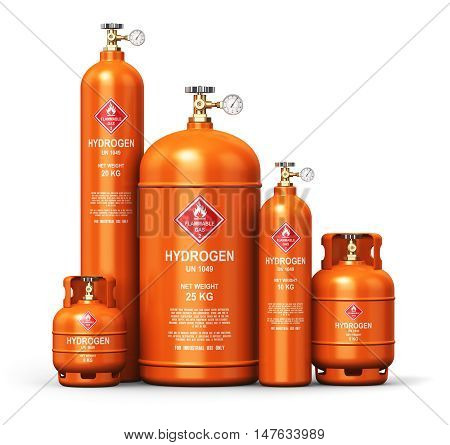 3D render illustration of the set of different orange metal steel liquefied compressed natural hydrogen gas containers or cylinders with high pressure gauge meters and valves isolated on white background