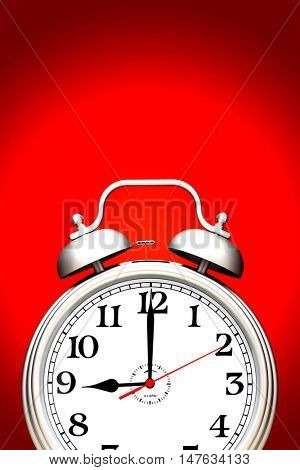 Alarm clock isolated over red background
