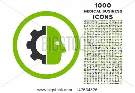 Cyborg rounded vector bicolor icon with 1000 medical business icons. Set style is flat pictograms, eco green and gray colors, white background.