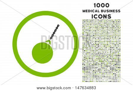 Destruction Hammer rounded vector bicolor icon with 1000 medical business icons. Set style is flat pictograms, eco green and gray colors, white background.