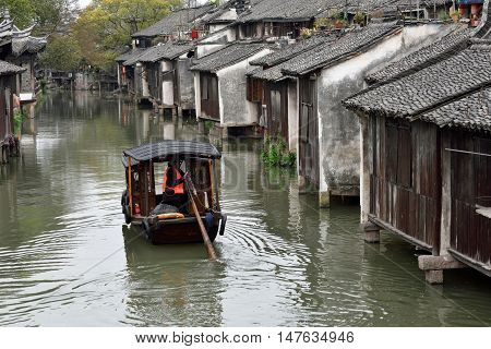 WUZHEN CHINA - MARCH 24: Old Town of Wuzhen on March 24 2016 in Wuzhen China. Wuzhen is a historic scenic town located in northern Zhejiang Province China
