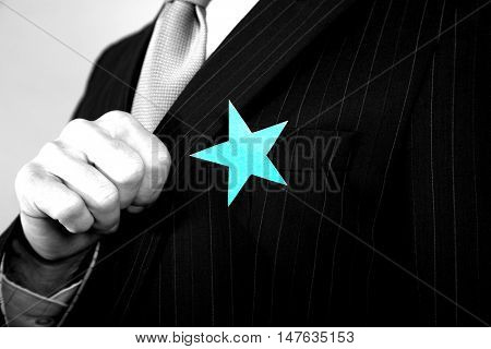 Extreme closeup of a businessman with blue star on suit