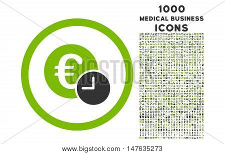 Euro Credit rounded vector bicolor icon with 1000 medical business icons. Set style is flat pictograms, eco green and gray colors, white background.