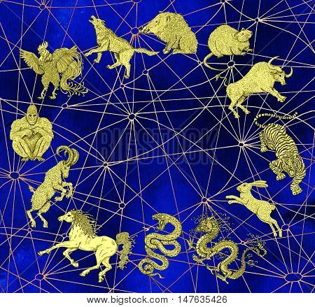 Blue mystic background with chart of twelve zodiac animals. Vintage holiday collection of new year calendar and horoscope engraved symbols.  Graphic doodle illustration, occult and esoteric concept