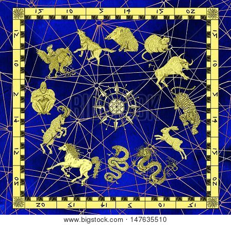 Mystic background with zodiac animals in golden frame and compass. Vintage holiday collection of new year calendar and horoscope engraved symbols. Graphic illustration, occult and esoteric concept