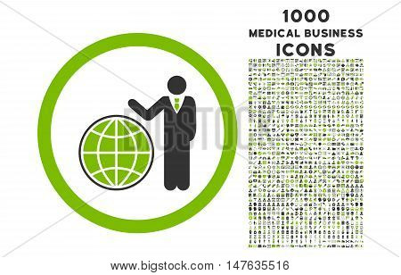 Global Manager rounded vector bicolor icon with 1000 medical business icons. Set style is flat pictograms, eco green and gray colors, white background.