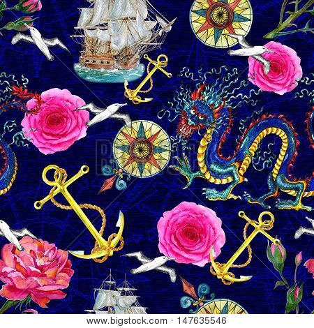 Fantasy seamless background with watercolor dragon, roses, ship, anchor and sea emblems. Marine endless illustrations with vintage transportation concept, hand drawn nautical pattern on blue texture