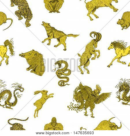 Seamless background with chinese zodiac animals on white. Vintage holiday pattern with new year calendar and horoscope engraved symbols.  Graphic doodle illustration, mystic and esoteric concept