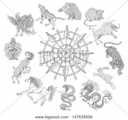 Graphic line art chart with zodiac animals isolated on white. Vintage holiday collection of new year calendar and horoscope engraved symbols.  Doodle illustrations, mystic and esoteric concept