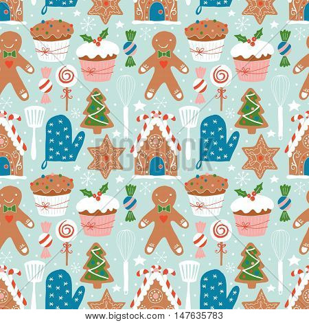 Christmas Holiday Cookies Baking Seamless Pattern. Hand Darwing Vector Illustration