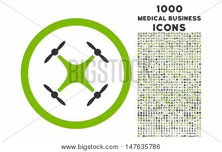 Quadcopter rounded vector bicolor icon with 1000 medical business icons. Set style is flat pictograms, eco green and gray colors, white background.