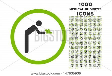 Servant rounded vector bicolor icon with 1000 medical business icons. Set style is flat pictograms, eco green and gray colors, white background.
